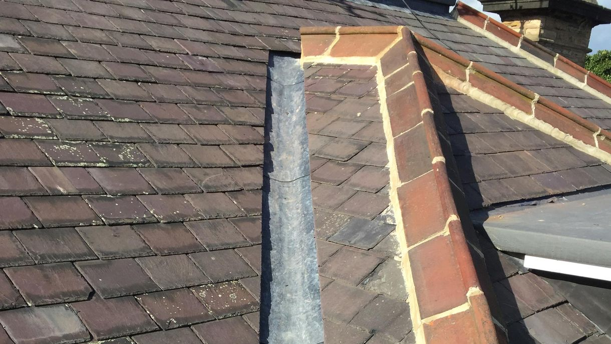 Close up roofing work that has been completed by our team