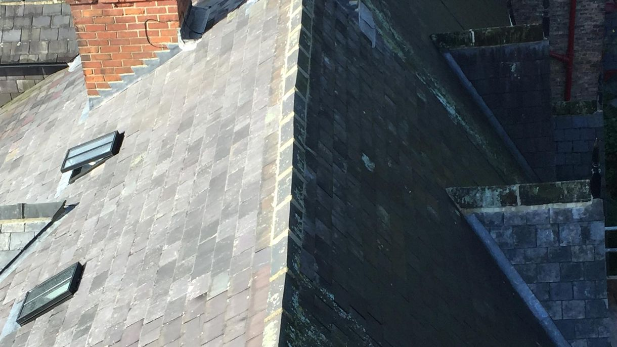 A roof that has been repaired by our team